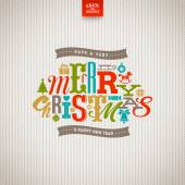 Multicolored Christmas  type design on a knitted white background - vector illustration — Stock vektor