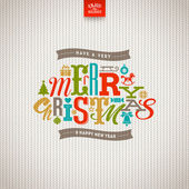 Multicolored Christmas  type design on a knitted white background - vector illustration — Wektor stockowy