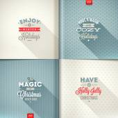 Vector set of Christmas type design with long shadow on a different backgrounds — Stock Vector