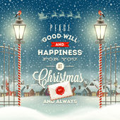 Christmas greeting type design with vintage street lantern against a evening rural winter landscape - holidays vector illustration — Διανυσματικό Αρχείο