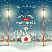 Christmas greeting type design with vintage street lantern against a evening rural winter landscape - holidays vector illustration — Vector de stock