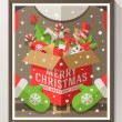Santa Claus hands holding a box with Christmas toys, gifts and sweets - Holidays flat style poster in wooden frame. Vector illustration — Stock Vector #55776899