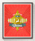 Type Christmas design with deer and sunburst rays - flat style poster in wooden frame on white brick wall. Vector illustration — Stock Vector