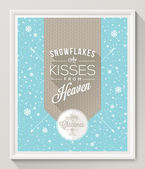 Knitted pattern with type design against a snowfall background - Christmas quote poster in white frame. Vector illustration — Stock Vector
