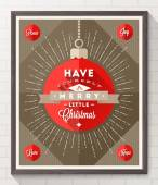 Bauble with sunburst rays and Christmas type design - Flat style poster in wooden frame on a white brick wall. Vector illustration — Stock Vector