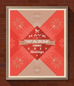 Winter holidays greeting poster in wooden frame on a brick wall - Christmas type design with sunburst rays and knitted pattern. Vector illustration — Stock Vector