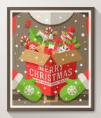 Santa Claus hands holding a box with Christmas toys, gifts and sweets - Holidays flat style poster in wooden frame. Vector illustration — Wektor stockowy