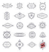 Set of hipster line emblems and signs with sunburst - vector illustration — Stock Vector
