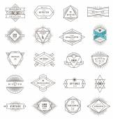 Vector set of hipster line emblems and signs with sunburst — Stock Vector