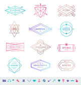 Vector set of colored hipster line emblems signs and symbols — Stock Vector