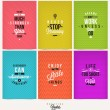 Set of Positive Quote Typographical Background - vector design — Stock Vector #65613113
