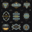 Set of hipster trendy emblems, labels and sign - vector illustration — Stock Vector #65613175