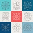 Постер, плакат: Nautical adventures and travel emblems signs and labels Line drawing vector illustration