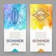 Summer holidays and travel banners with line drawing hipster emblems - vector illustration — Stock Vector #70832529