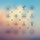Line drawing vector icons - travel, adventures and nautical signs and symbols — Stock Vector