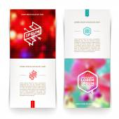 Abstract vector vertical banners with hipster emblems and blured background — Vetor de Stock