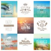 Vector set of travel and vacation type emblems and symbols on a defocused backgrounds — Stok Vektör