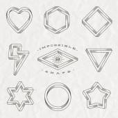 Vector set of line art tattoo style impossible shapes on a crumpled paper background — Stock Vector