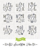 Vector set of Hand drawn different fonts for a headlines - Part two — Stock Vector