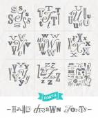 Vector set of Hand drawn different fonts for a headlines - Part three — Stock Vector