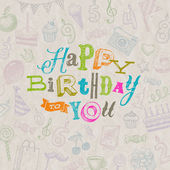 Vector illustration - Hand drawn Happy Birthday greeting card — Stock Vector