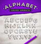 Hand drawn sketch font on a school squared notebook paper - vector illustration — Stock Vector