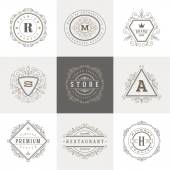 Monogram logo template with flourishes calligraphic elegant ornament elements. Identity design with letter for cafe, shop, store, restaurant, boutique, hotel, heraldic, fashion and etc. — ストックベクタ