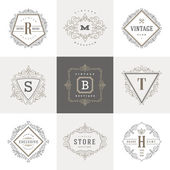 Monogram logo template with flourishes calligraphic elegant ornament elements. Identity design with letter for cafe, shop, store, restaurant, boutique, hotel, heraldic, fashion and etc. — Stock Vector