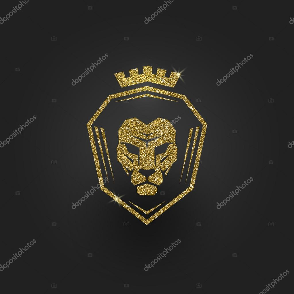 Glitter gold lion logo - vector illustration — Stock Vector ...
