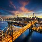 New York City - amazing sunset over manhattan with Queensboro bridge — Stock Photo #55681849