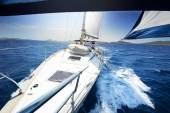 Sailing on Yacht at sunny day — Stock Photo