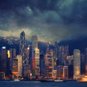 Hong Kong cityscape in stormy weather - amazing atmosphere — Stock Photo