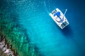 Amazing view to Yacht sailing in open sea at windy day. Drone view - birds eye angle — Stock Photo
