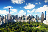 New York City - central park view to manhattan with park at sunny day - amazing birds view — Stok fotoğraf
