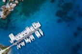 Amazing view to Yachts in harbor - Drone view. birds eye angle — Stock Photo