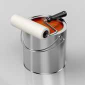 Paint roller and orange paint — Stock Photo