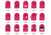 Set of Popsicles Icons: different emotions — ストックベクタ