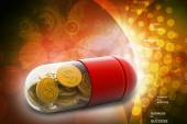 3d illustration of Red pill filled with dollar coin — Stock Photo