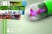 Ilustração 3D do dna no interior da cápsula — Fotografia Stock