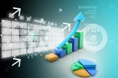Business graph and pie chart with business concept — Stock Photo