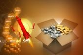 Open Cardboard box with money — Stock Photo