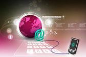 E-mail no celular — Fotografia Stock