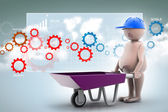 3D multi use construction worker with a wheelbarrow — Foto Stock