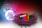 Business chart an graph on nest — Stock Photo