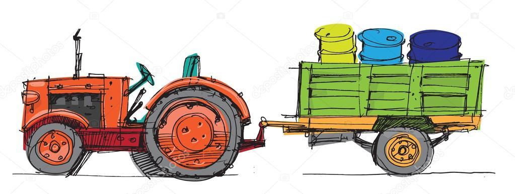 Tracteur avec remorque dessin anim image vectorielle iralu1 88310552 - Dessin anime avec tracteur ...