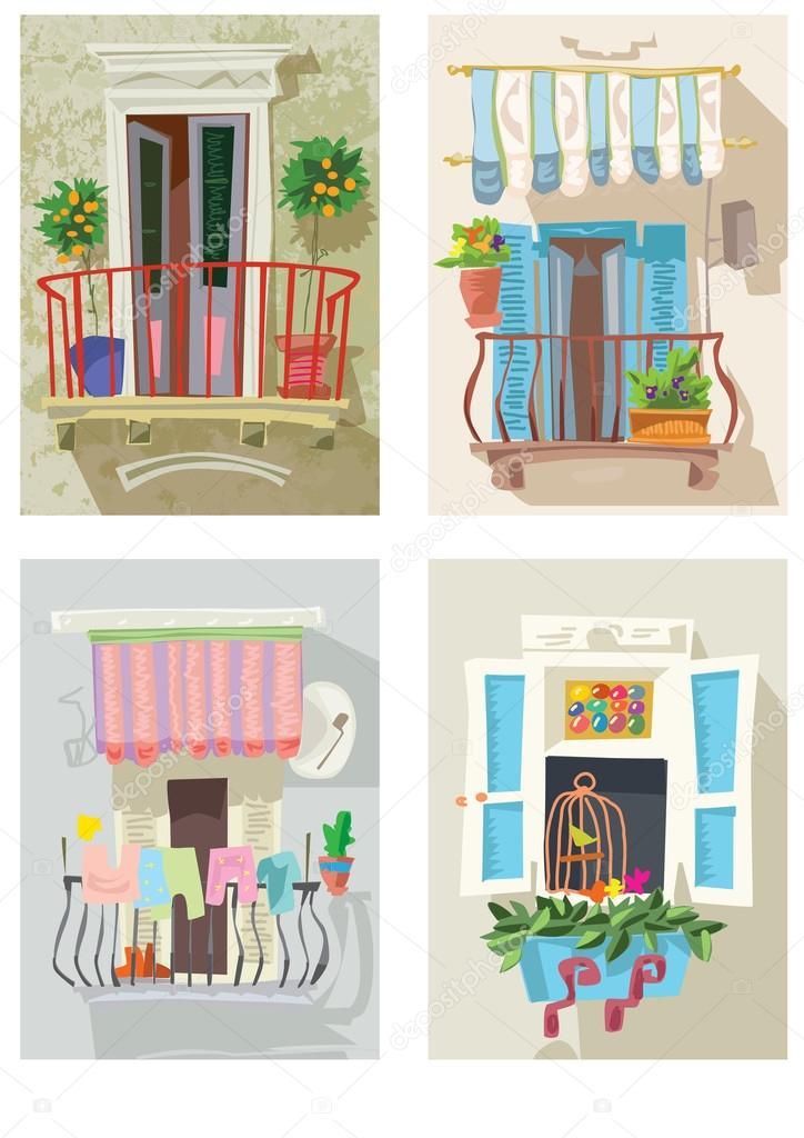 Cute balcony cartoon stock vector iralu1 88311040 for Balcony cartoon