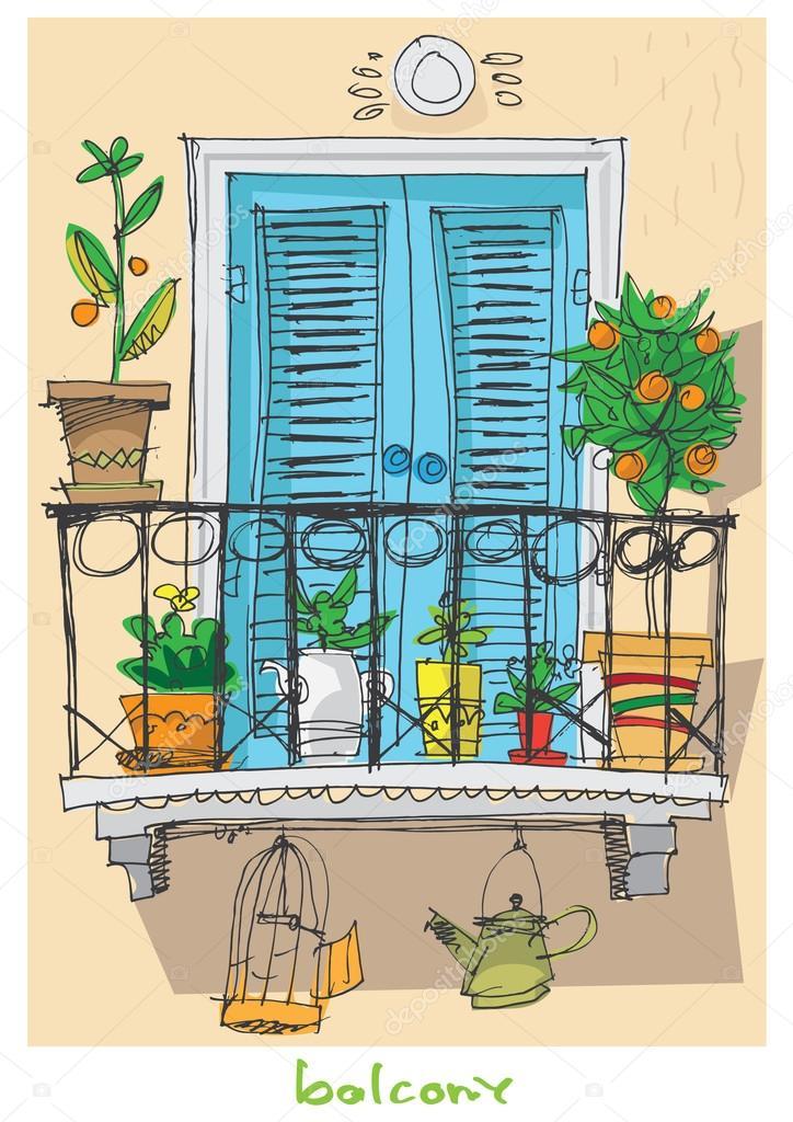 Cute balcony cartoon stock vector iralu1 88311934 for Balcony cartoon