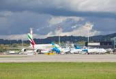 Emirates A-380 at Zurich airport — Stock Photo