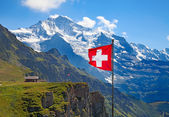 Swiss flag on the top of Mannlichen — Stock Photo