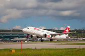 Swiss airlines Airbus at Zurich Airport — Stock fotografie